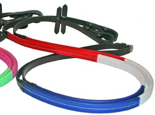 JHL Rubber Training Reins in Red/White/Blue